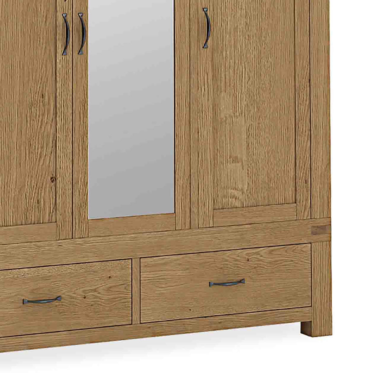 The Abbey Grande Large Oak Triple Wardrobe - Close Up View of  Bottom Drawers