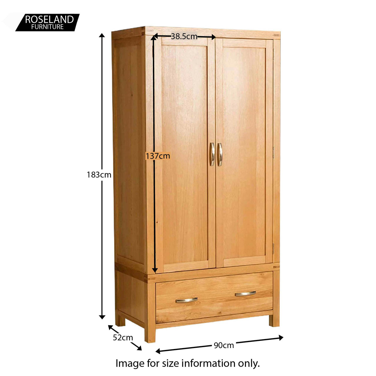 Abbey Light Oak Double Wardrobe with drawer - Size guide