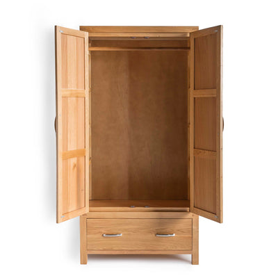 Abbey Light Oak Double Wardrobe - With wardrobe doors open