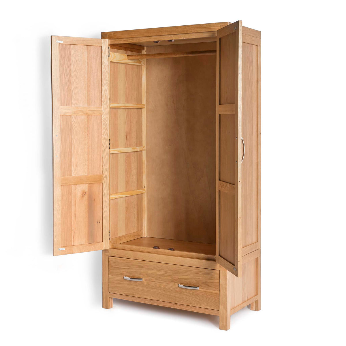 Abbey Light Oak Double Wardrobe - Side view with wardrobe doors open