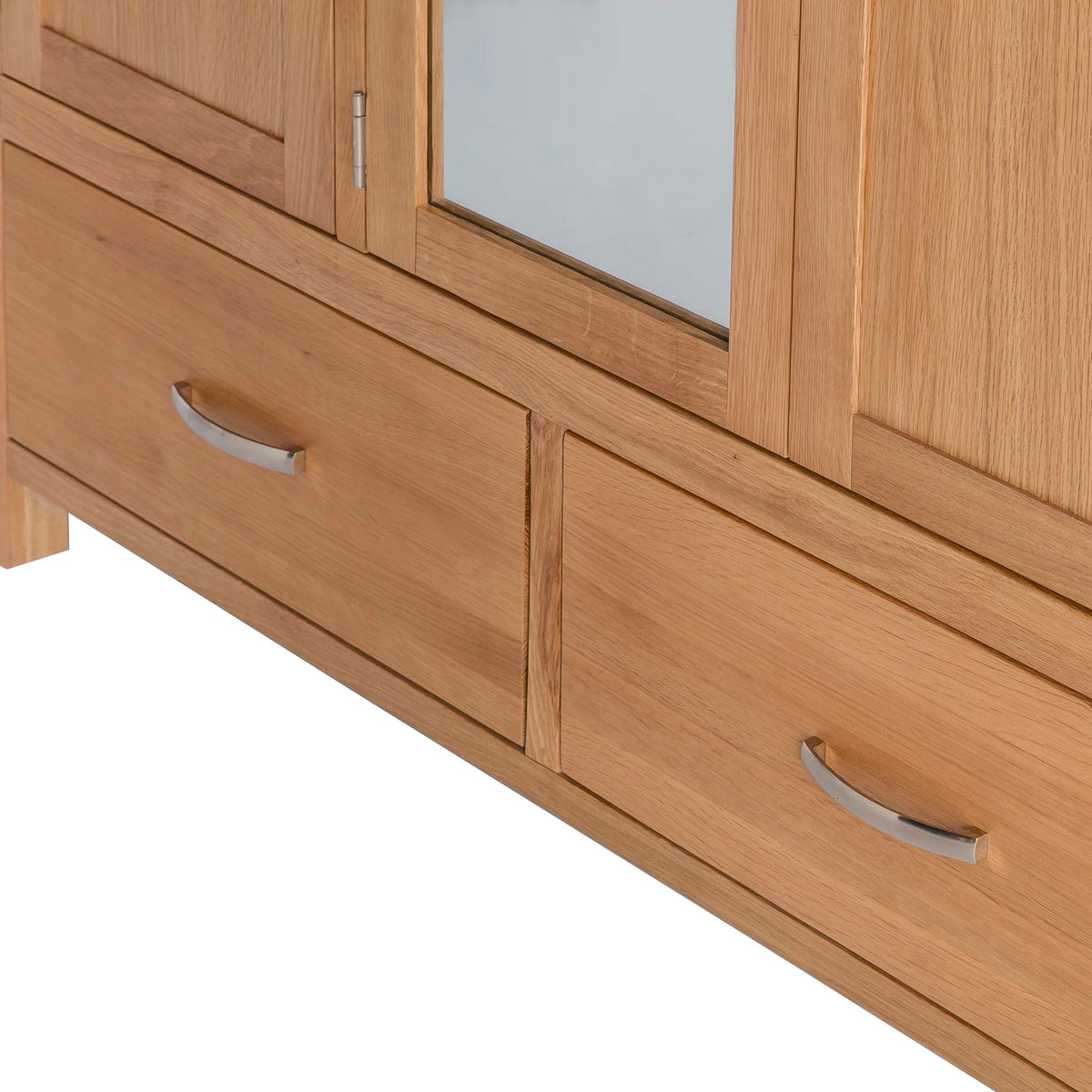 Abbey Light Oak 3 Door Triple Wardrobe with Drawers - Close up of drawer fronts