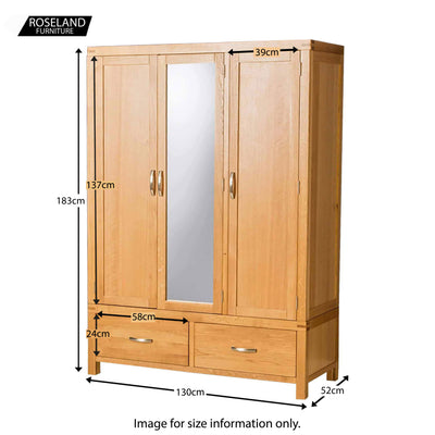 Abbey Light Oak 3 Door Triple Wardrobe  - Size guide
