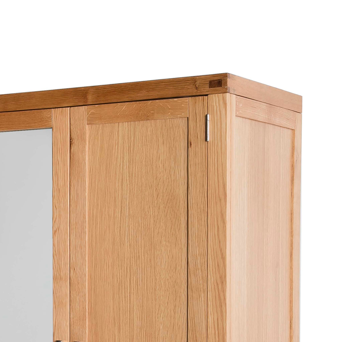 Abbey Light Oak 3 Door Triple Wardrobe with Drawers - Close up of tenon joint on the corner of wardrobe