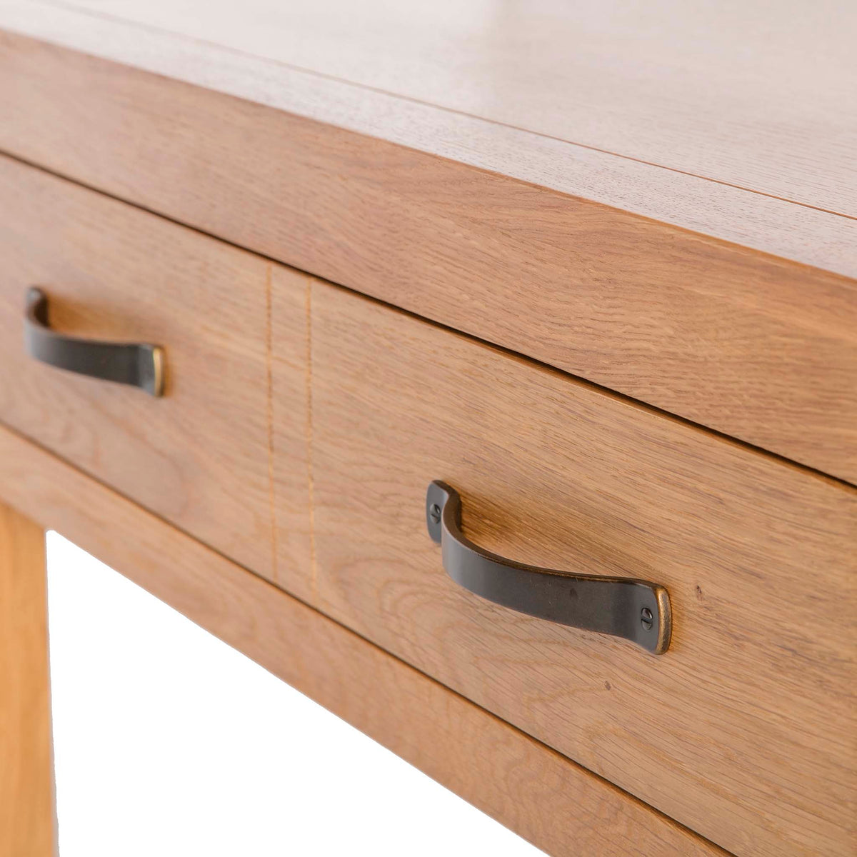 Abbey Waxed Oak Coffee Table with Storage -  Close up of coffee table drawer