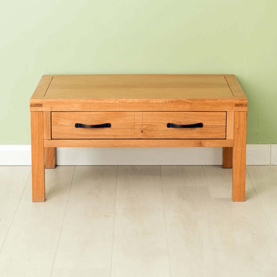 The Abbey Waxed Oak Coffee Table with Storage - Lifestyle front on