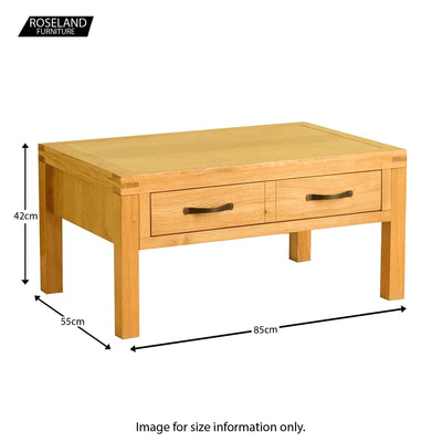 Abbey Waxed Oak Coffee Table with Storage - Size guide