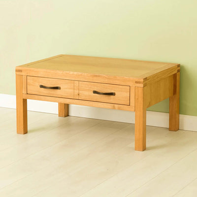 The Abbey Waxed Oak Coffee Table with Storage - Lifestyle side view