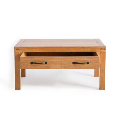 Abbey Waxed Oak Coffee Table with Storage - Front view with drawer open