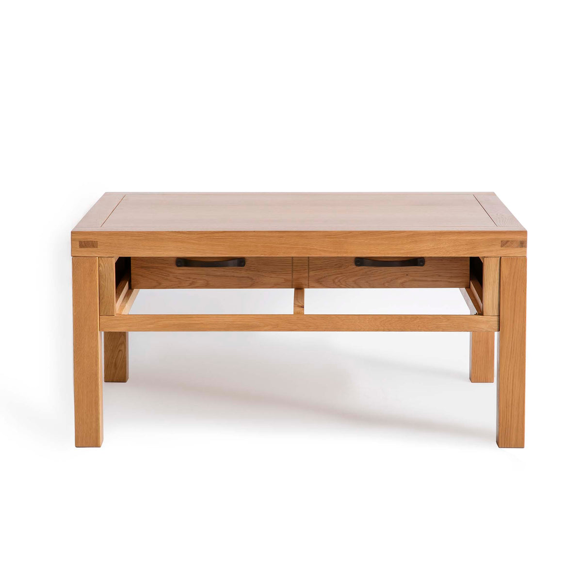 Abbey Waxed Oak Coffee Table with Storage -  Front view with drawer open other side