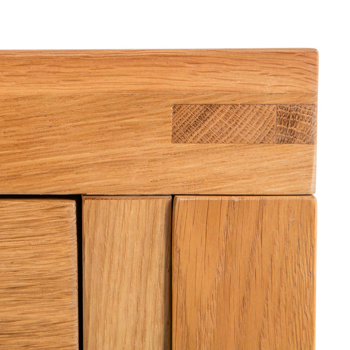 Abbey Waxed Oak Coffee Table with Storage - Close up of corner tenon joint