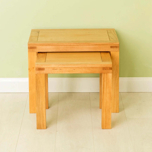 The Abbey Waxed Oak Nest of 2 Tables from Roseland Furniture