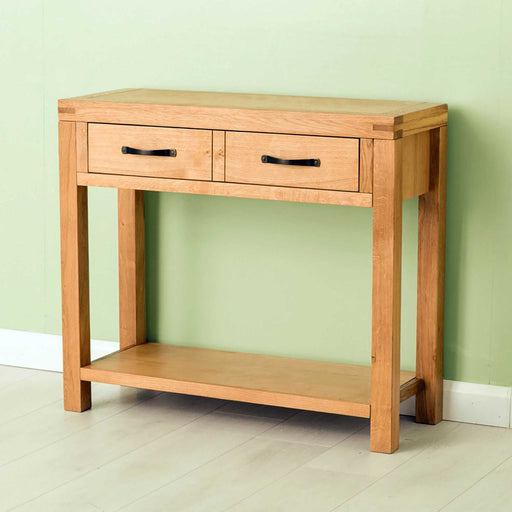 The Abbey Waxed Oak Console Table with Large Drawer from Roseland Furniture