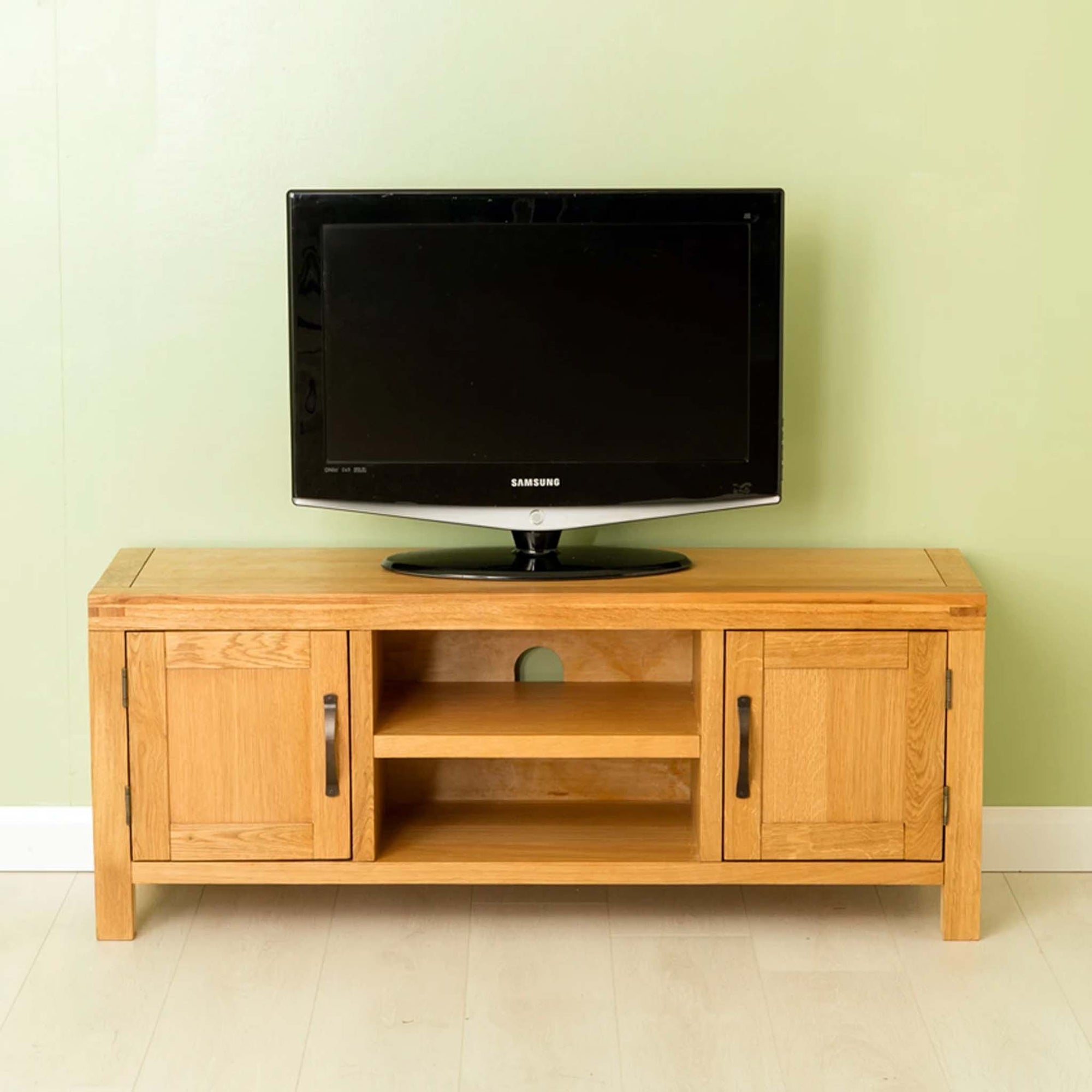 Abbey Waxed Oak Large Tv Stand Solid Wooden Media Cabinet Roseland Furniture