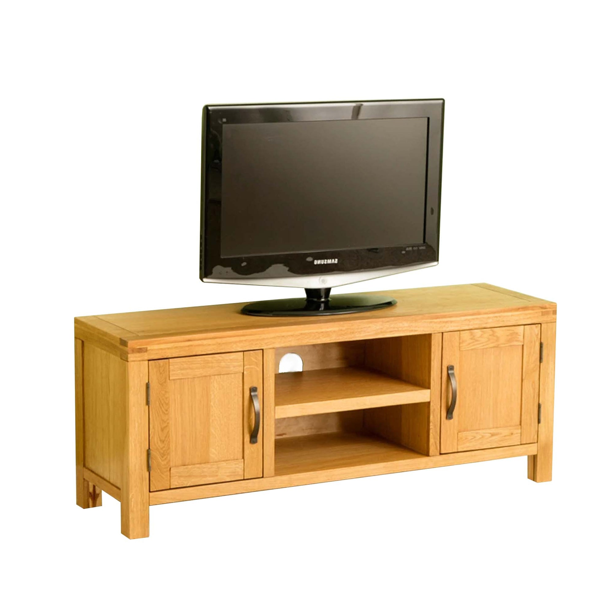 Abbey Waxed 120cm Large Oak TV Stand Storage Unit by Roseland Furniture