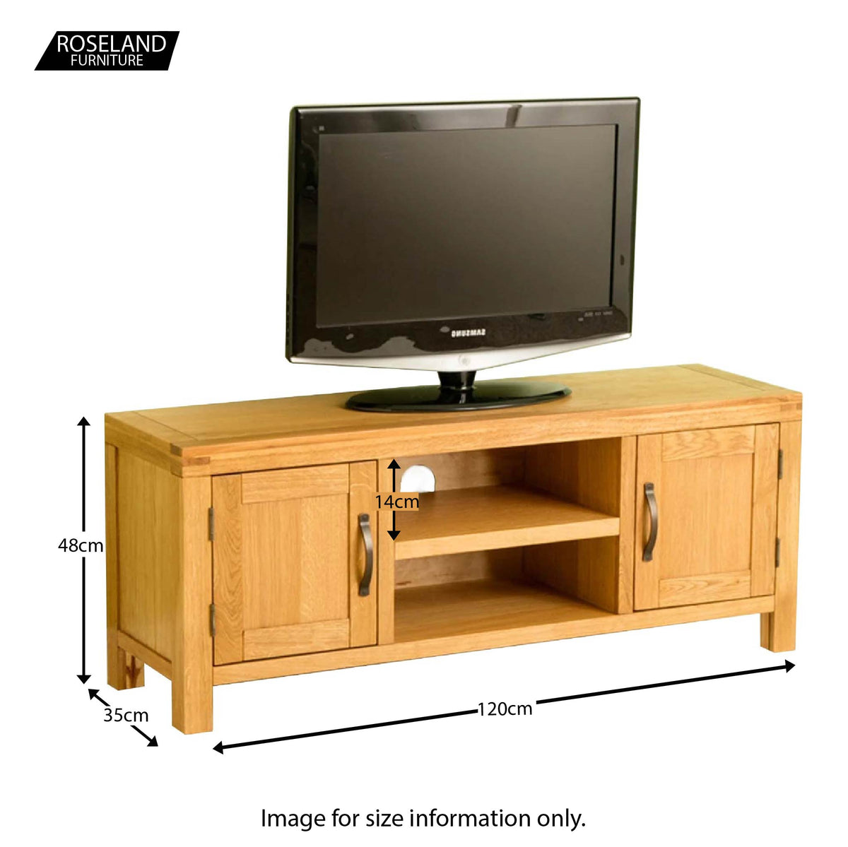 Abbey Waxed 120cm Large Oak TV Stand Storage Unit - Size guide
