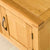 Close up of top surface of The Abbey Waxed 120cm Large Oak TV Stand Storage Unit