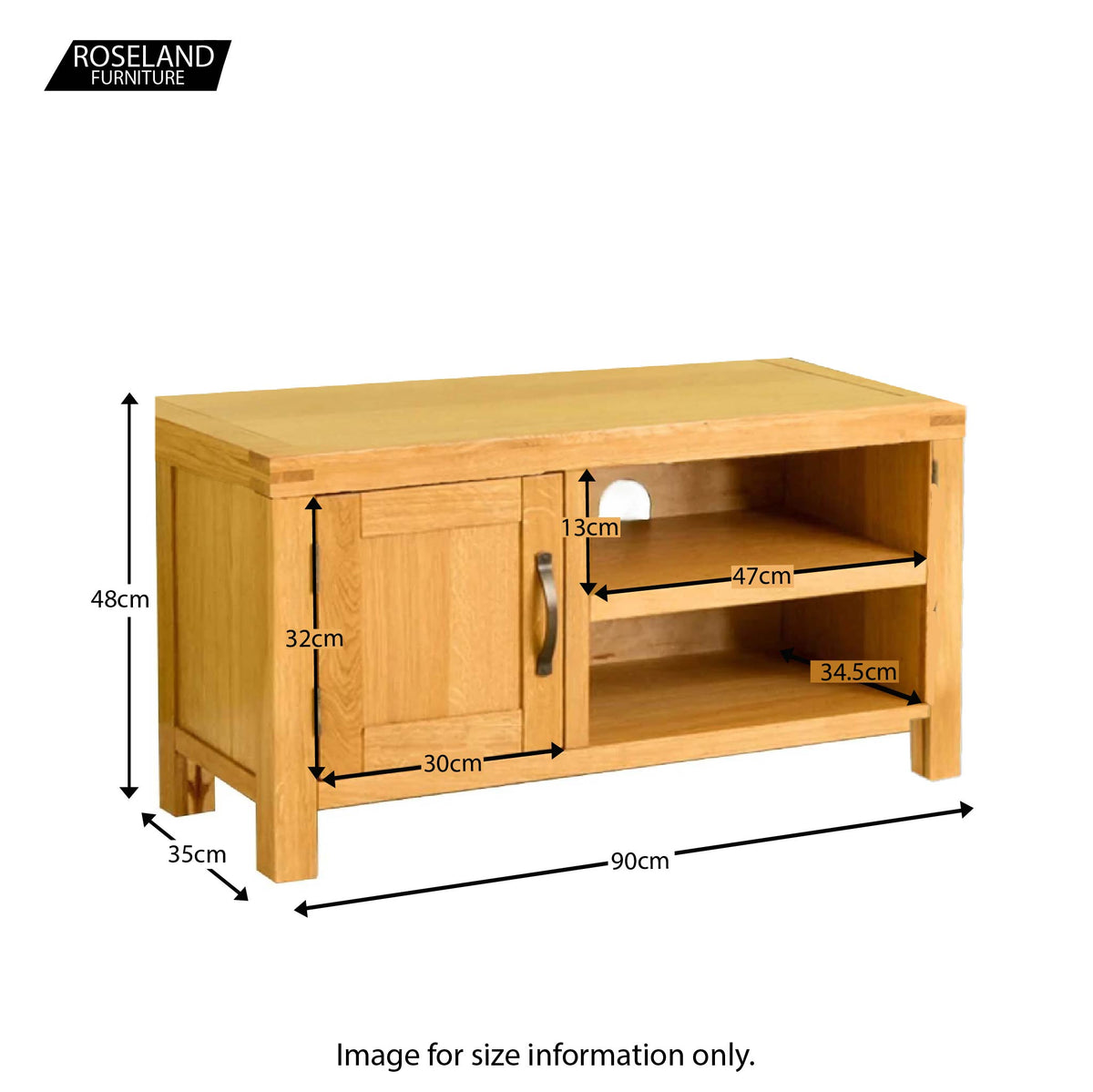 Abbey Waxed 90cm Small Oak TV Stand - Size guide