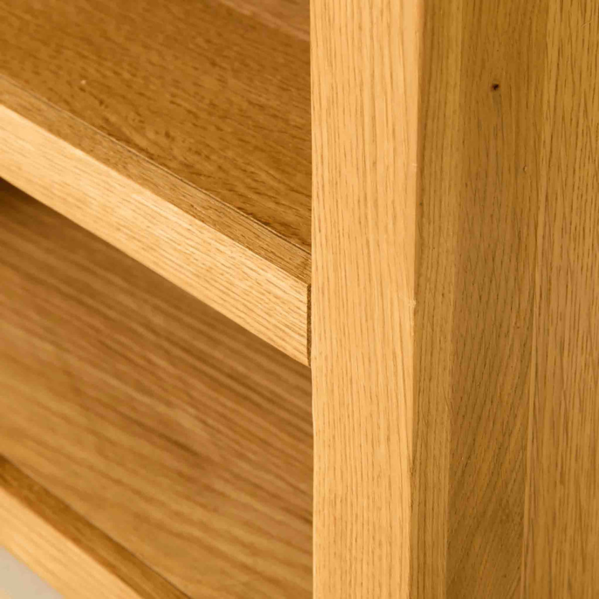 Shelf view of The Abbey Waxed 90cm Small Oak TV Stand Storage Unit