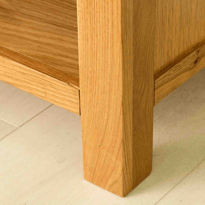 Leg of The Abbey Waxed 90cm Small Oak TV Stand Storage Unit