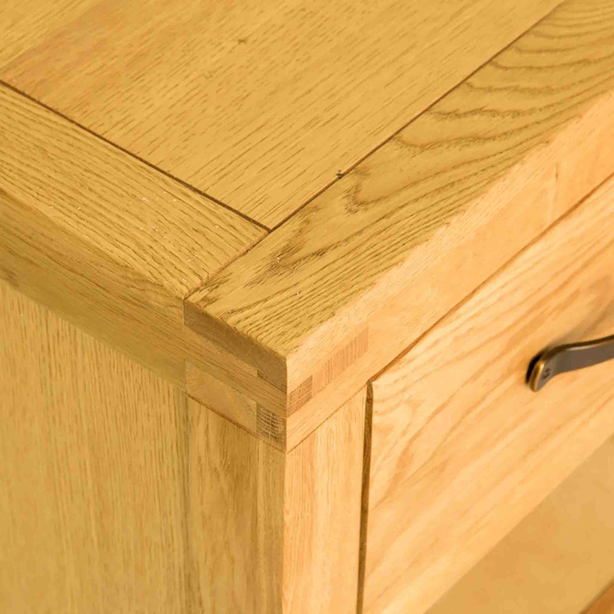 Top left corner view of the Abbey Waxed Oak Large Sideboard 3 Door Cabinet