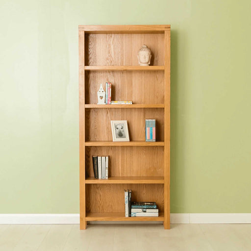 The Abbey Waxed Large Wide Oak Bookcase from Roseland Furniture