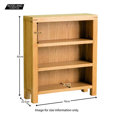 Abbey Waxed Small Low Oak Bookcase - Size guide
