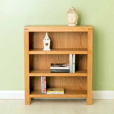 The Abbey Waxed Small Low Oak Bookcase - Lifestyle