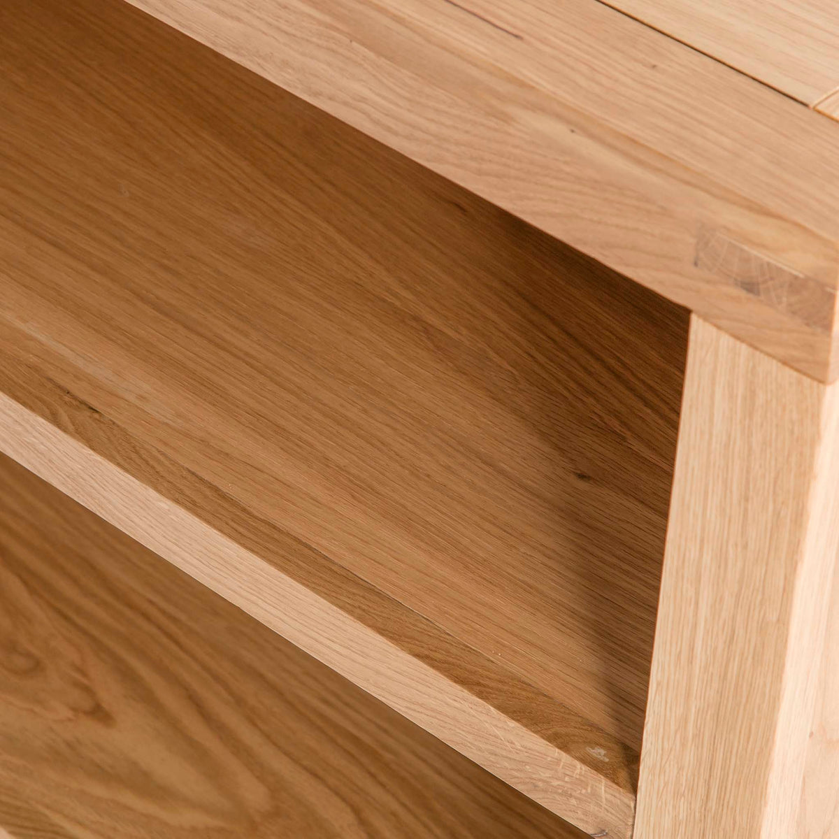 Abbey Waxed Small Low Oak Bookcase - Close up of shelf