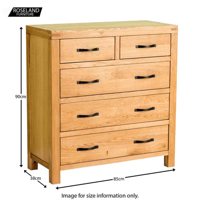 Abbey Waxed Oak Bedroom 2 Over 3 Chest of Drawers - Size guide