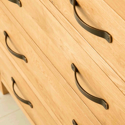 Close up of drawers on The Abbey Waxed Oak Bedroom Chest of Drawers