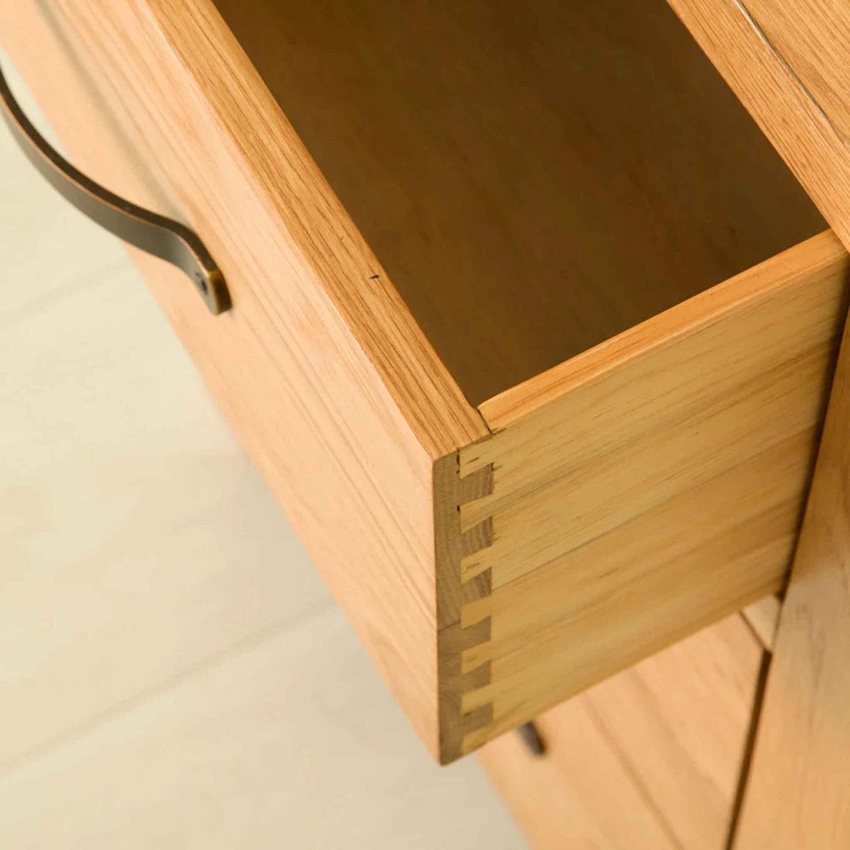 Open drawer on The Abbey Waxed Oak Tallboy Chest of Bedroom Drawers
