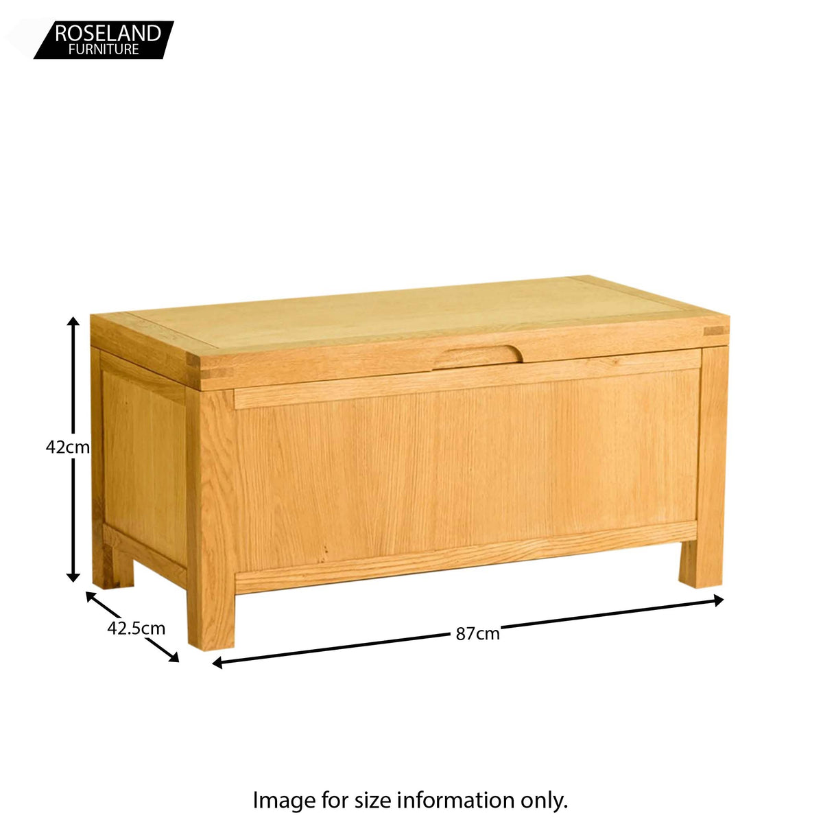 Abbey Waxed Oak Ottoman Blanket Box - Size guide
