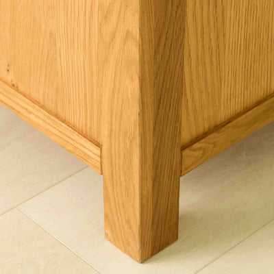 Leg of The Abbey Waxed Oak Ottoman Blanket Box
