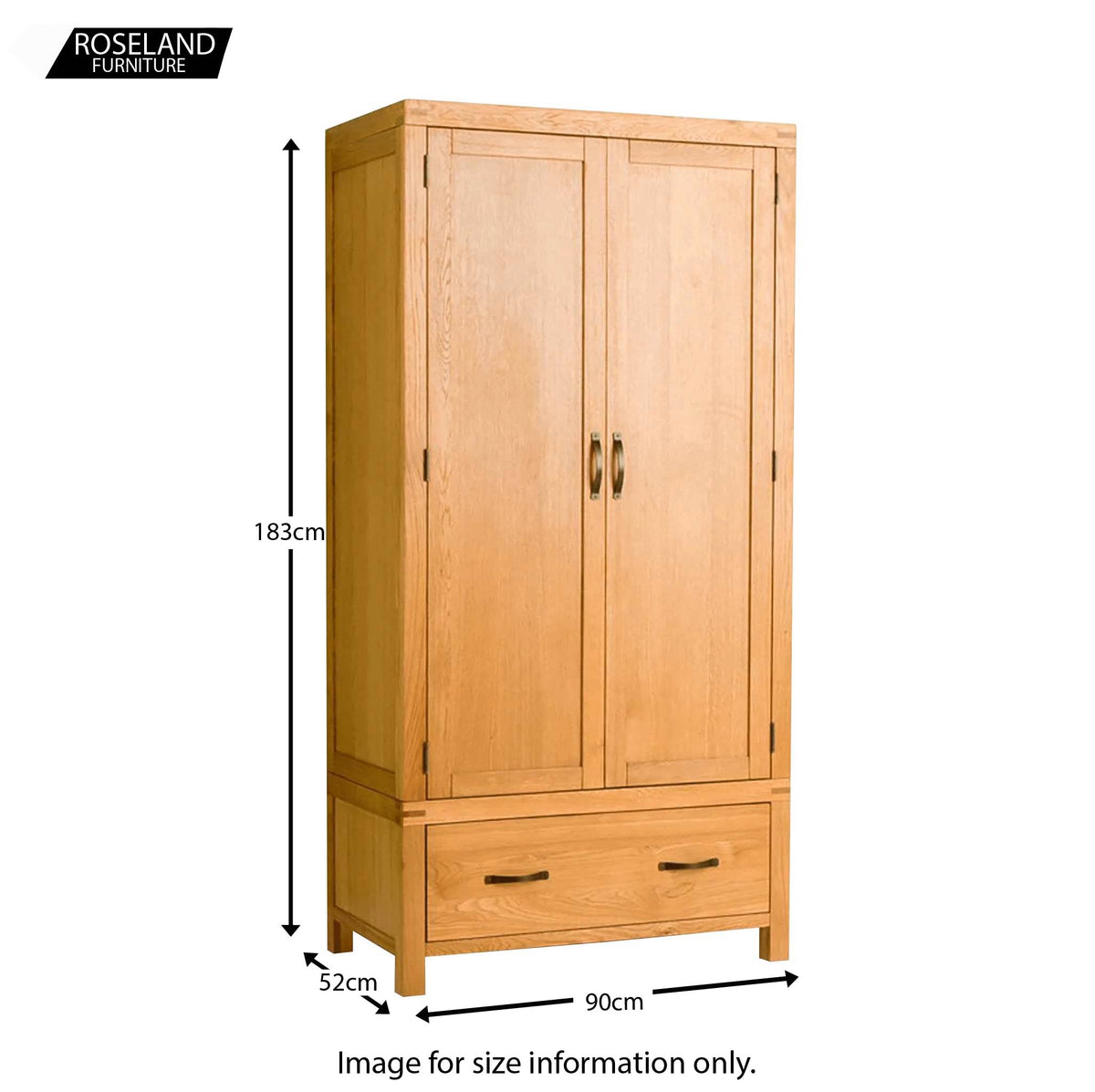 Abbey Waxed Oak Bedroom Furniture Set - Wardrobe size guide