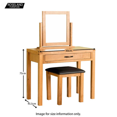 Abbey Waxed Oak Dressing Table Set - Size guide