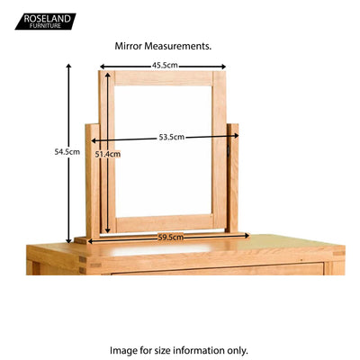 Abbey Waxed Oak Dressing Table Set - Mirror Size guide