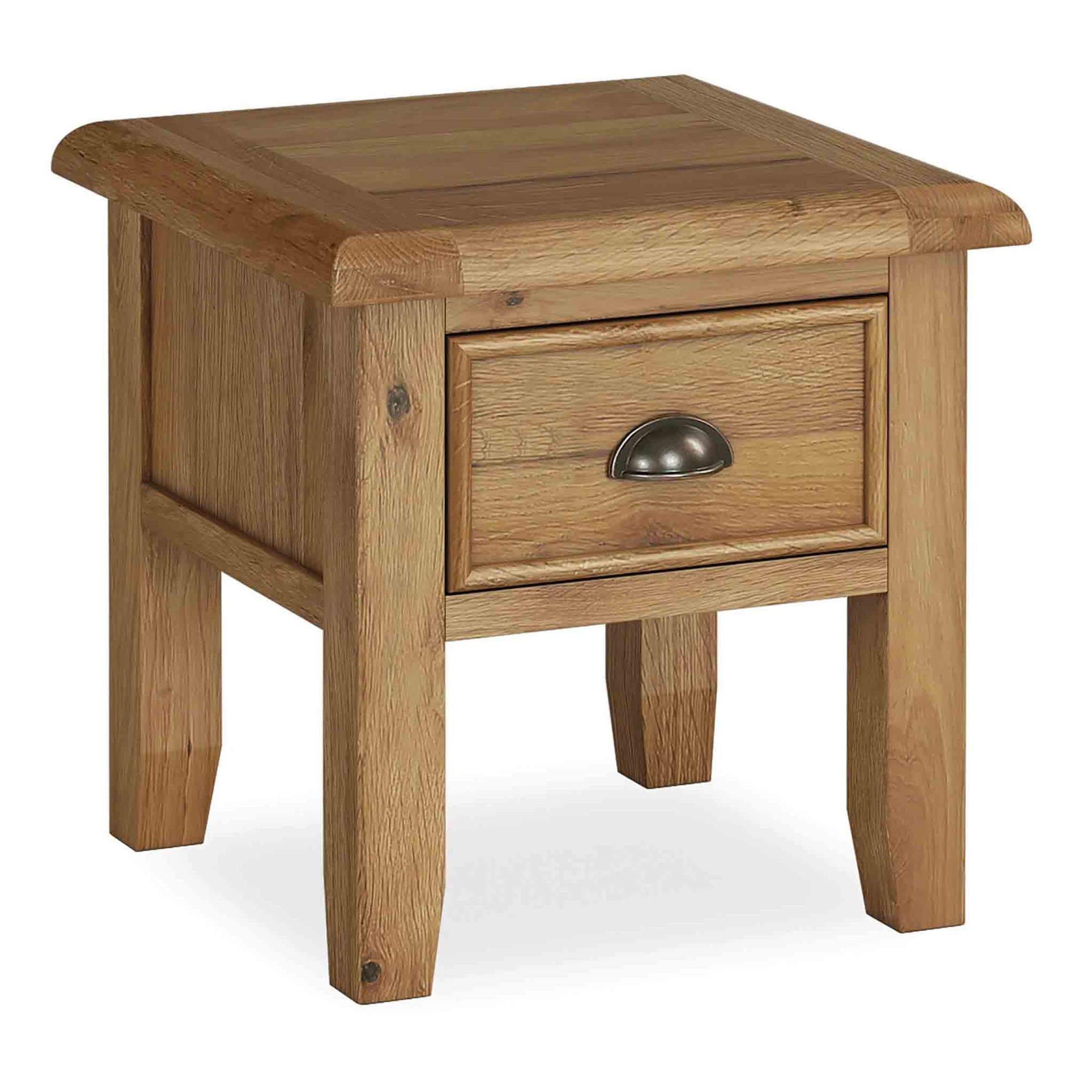 The Canterbury Oak Side Lamp Table with Storage Drawer from Roseland Furniture