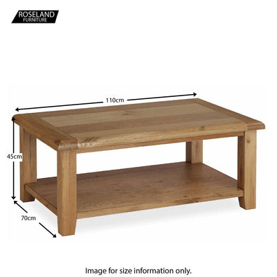 Canterbury Wooden Oak Coffee Table - Size Guide