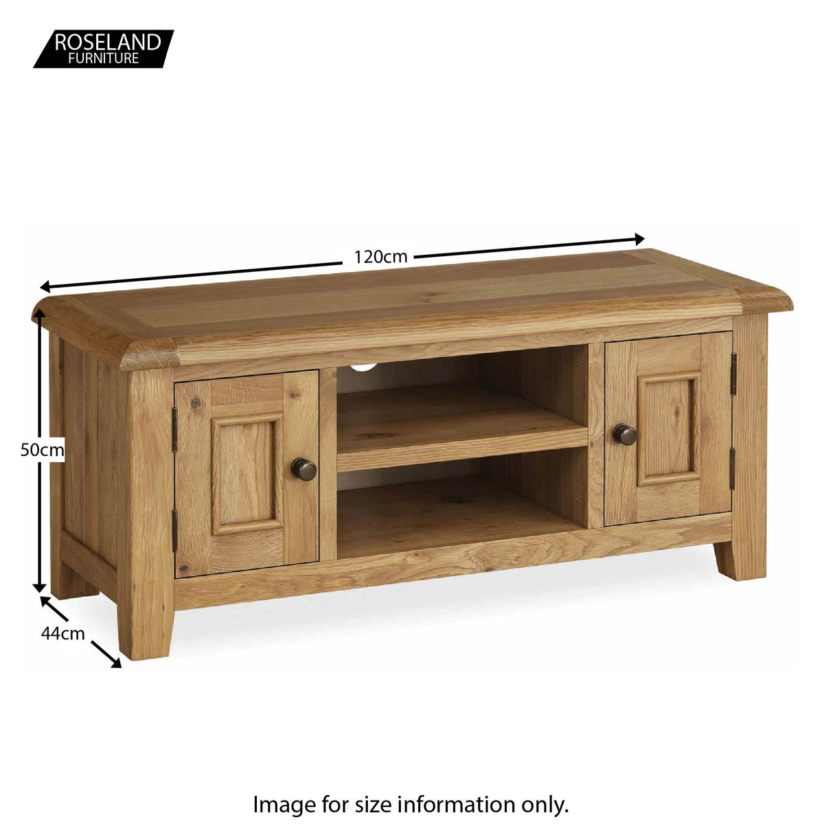 Canterbury 120cm Oak TV Stand - Size Guide