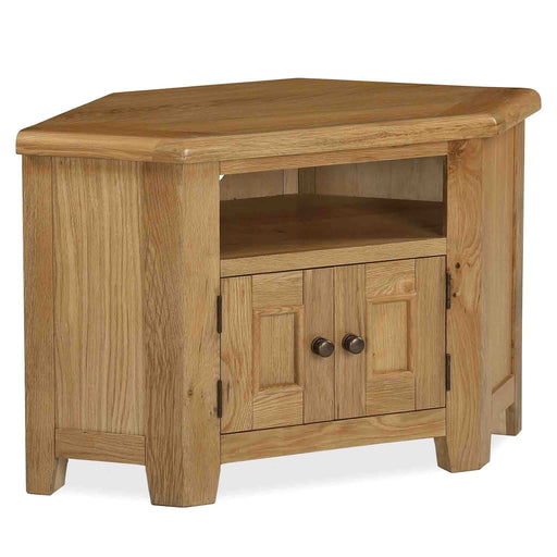 The Canterbury Oak Corner TV Stand Storage Unit by Roseland Furniture