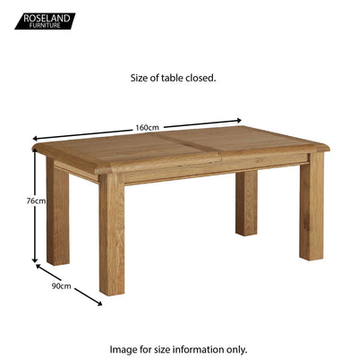 Canterbury Wooden Oak Extending Dining Table - Size Guide Table Closed