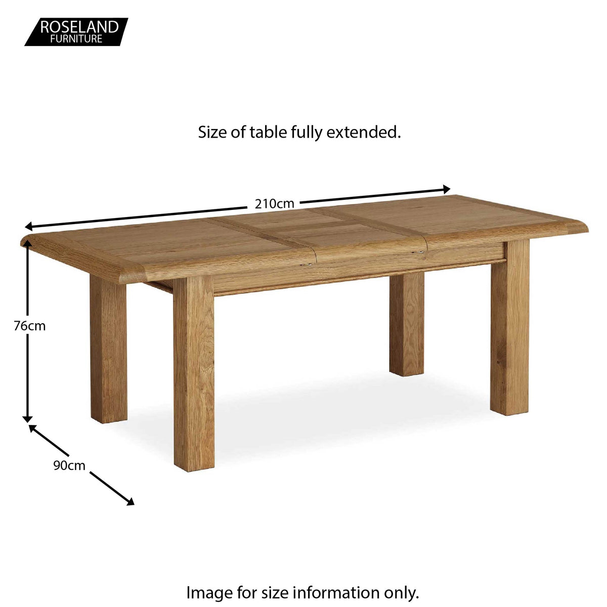 Canterbury Wooden Oak Extending Dining Table - Size Guide Table Fully Extended