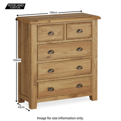 Canterbury Oak 2 Over 3 Drawer Chest - Size Guide