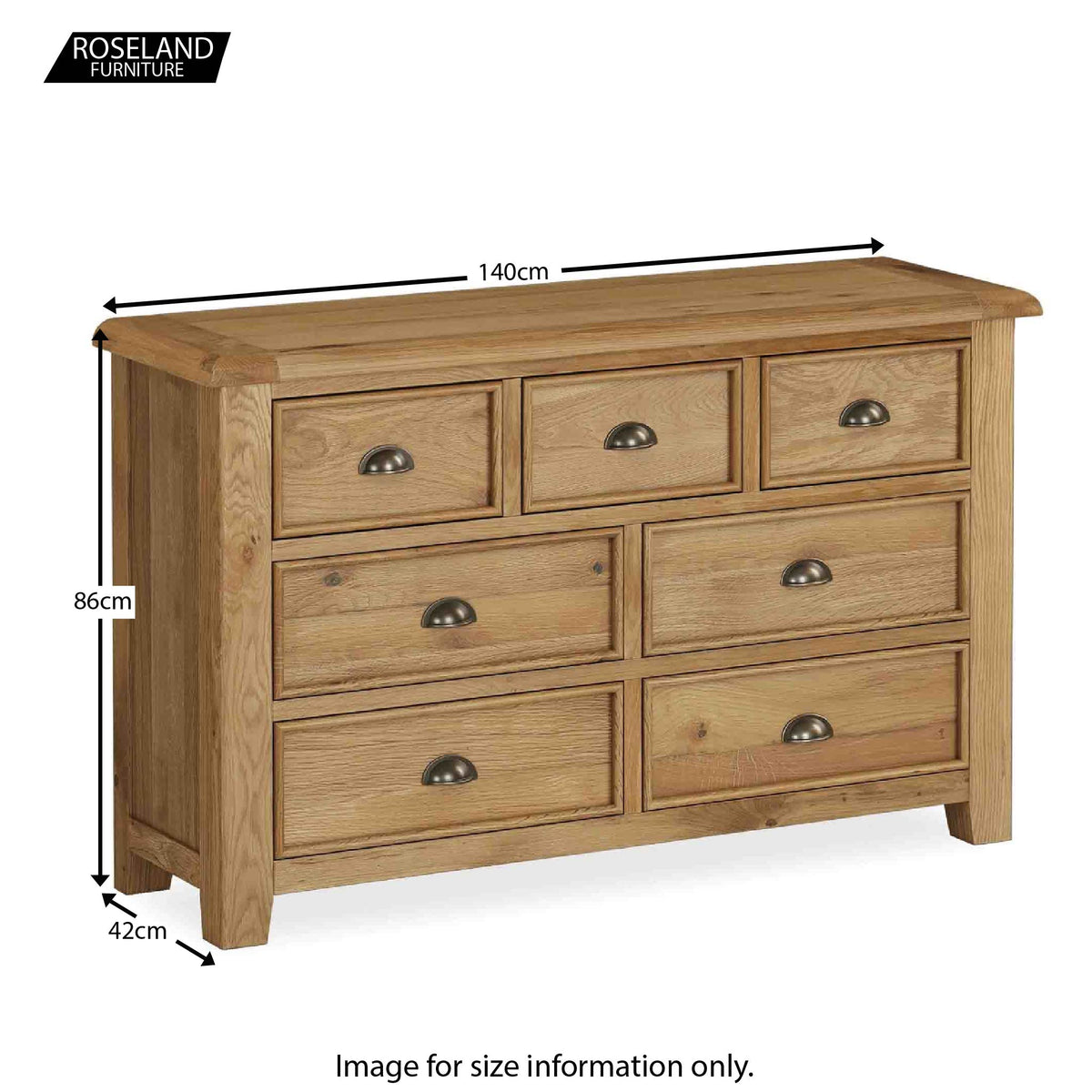 Canterbury Large Oak Chest of Drawers - Size Guide