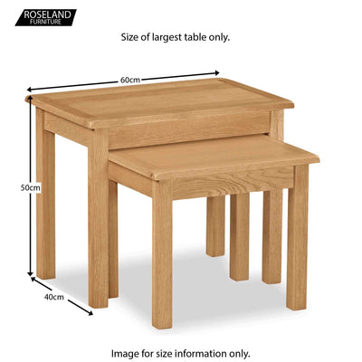 Cotswold Oak Nest of Tables - Size Guide