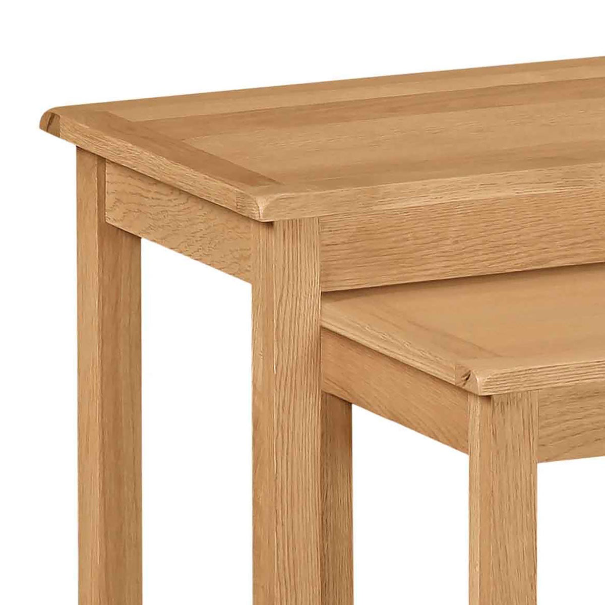Cotswold Oak Nest of 2 Tables - Close up of Tops of Tables