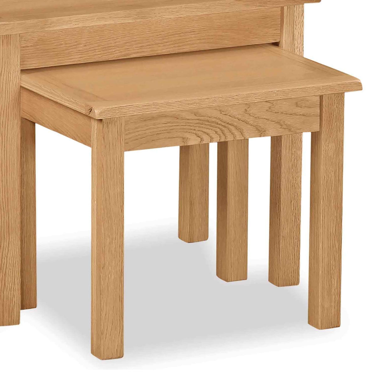 Cotswold Oak Nest of 2 Tables - Close up of smaller table