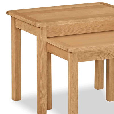 Cotswold Oak Nest of 2 Tables - Close up of larger table