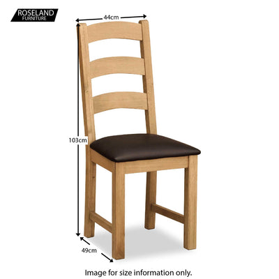 Cotswold Oak Dining Chair - Size Guide