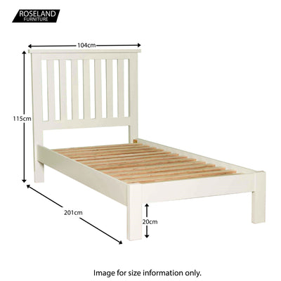 Cornish White 3 ft Single Bed Frame - Size guide